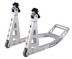 BIKETEK ALUMINIUM BOX PADDOCK STAND - FRONT - WITH RUBBER UNDER FORK ROCKERS